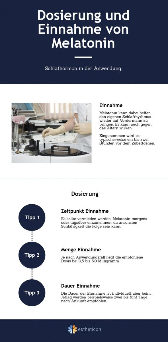 Dosierung und Einnahme von Melatonin.