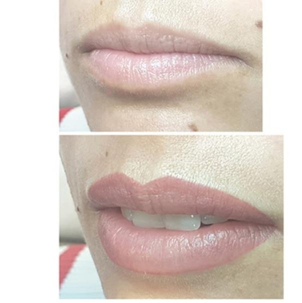 Die Lippen wirken voller und sind konturiert